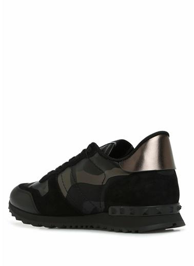 Valentino Garavani Valentino Garavani  Kamuflaj Desenli Erkek Deri Sneaker 101547484 Siyah